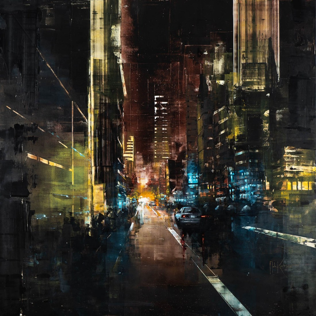 Martin Köster, Hong Kong late night, Oil on panel, Unikat, 2019, 100 x 100 cm