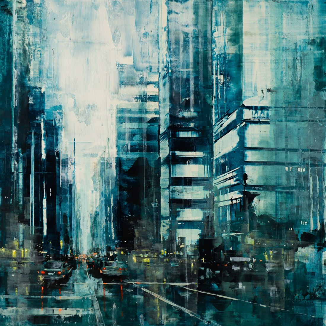 Martin Köster, Hong Kong noon III, Oil on panel, Unikat, 2019, 80 x 80 cm
