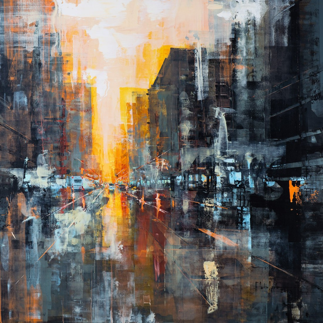 Martin Köster, Hong Kong sun rise I, Oil on panel, Unikat, 2019, 100 x 100 cm