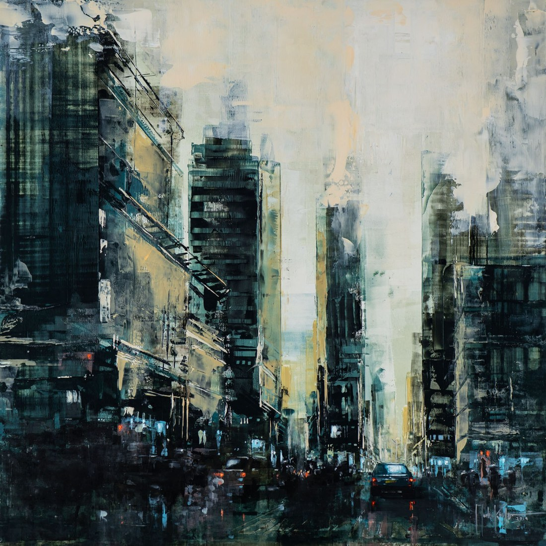 Martin Köster, NYC Time Square day I, Oil on panel, Unikat, 2019, 80 x 80 cm