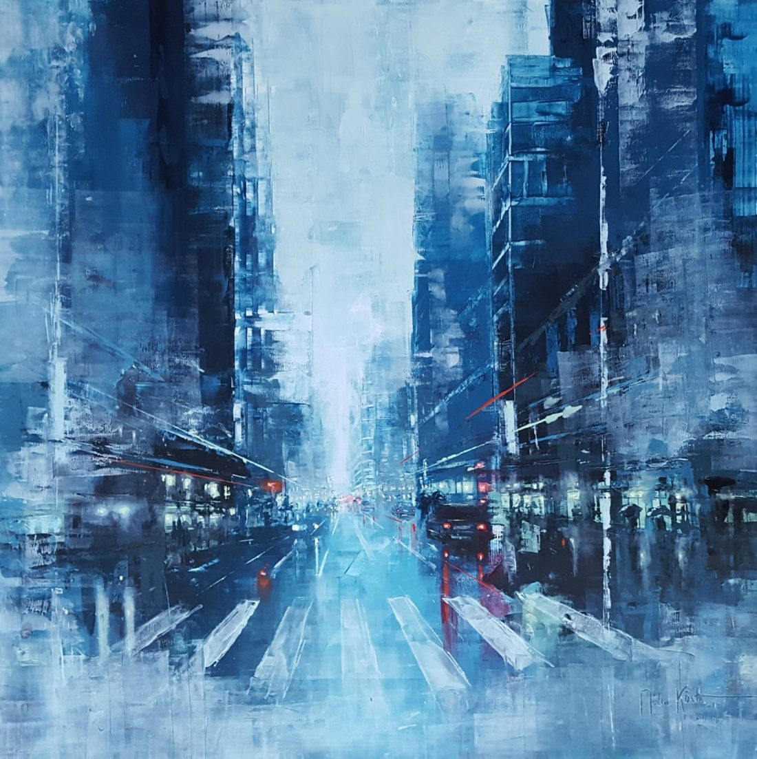 Martin Köster, New York City blue afternoon VII, Oil on panel, Unikat, 2019, 100 x 100 cm