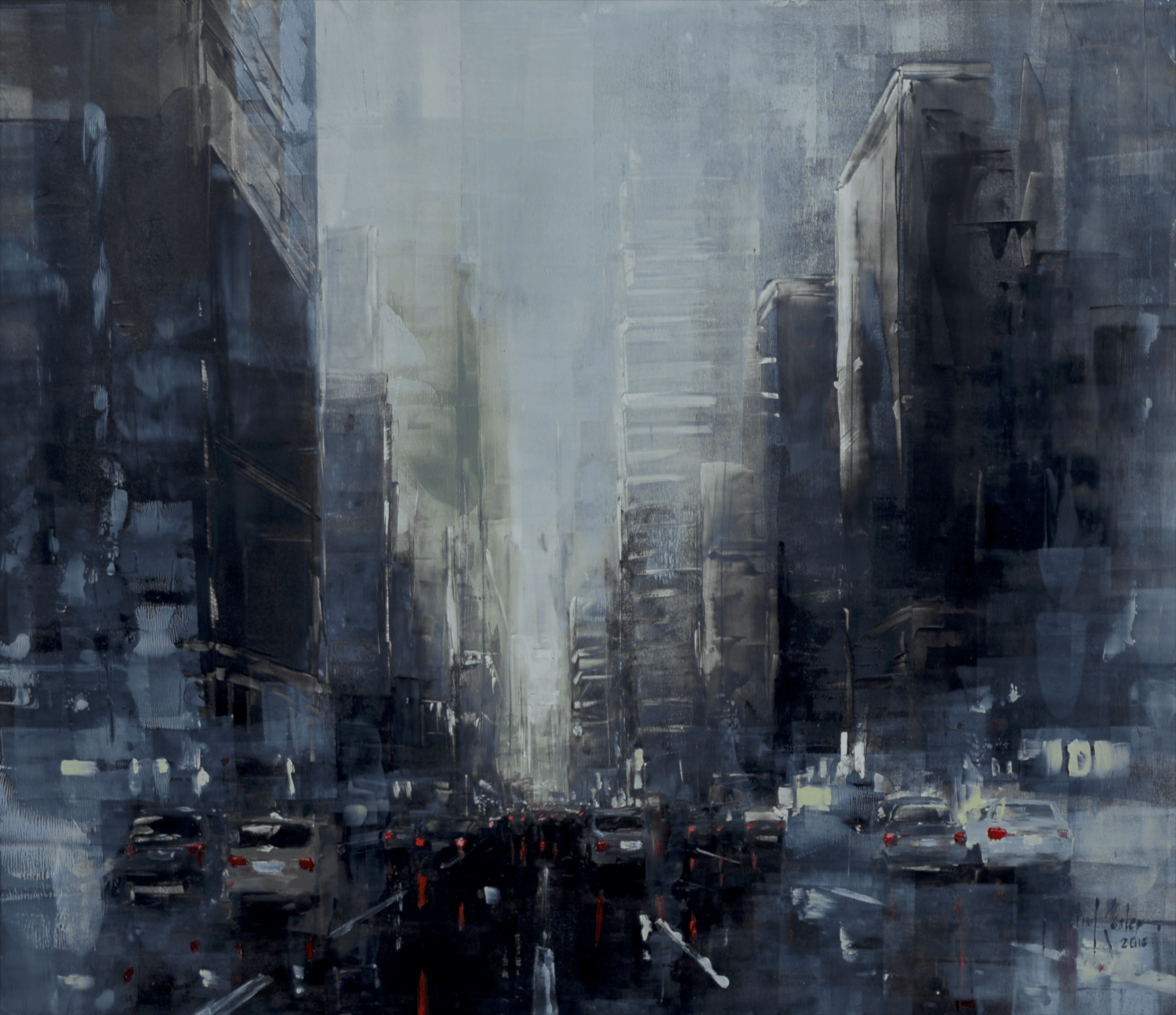 Martin Köster, New York dark afternoon VI, Oil on panel, Unikat, 2019, 90 x 80 cm