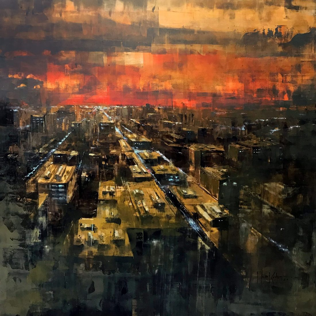 Martin Köster, New York sunrise III, Oil on panel, Unikat, 2019, 100 x 100 cm