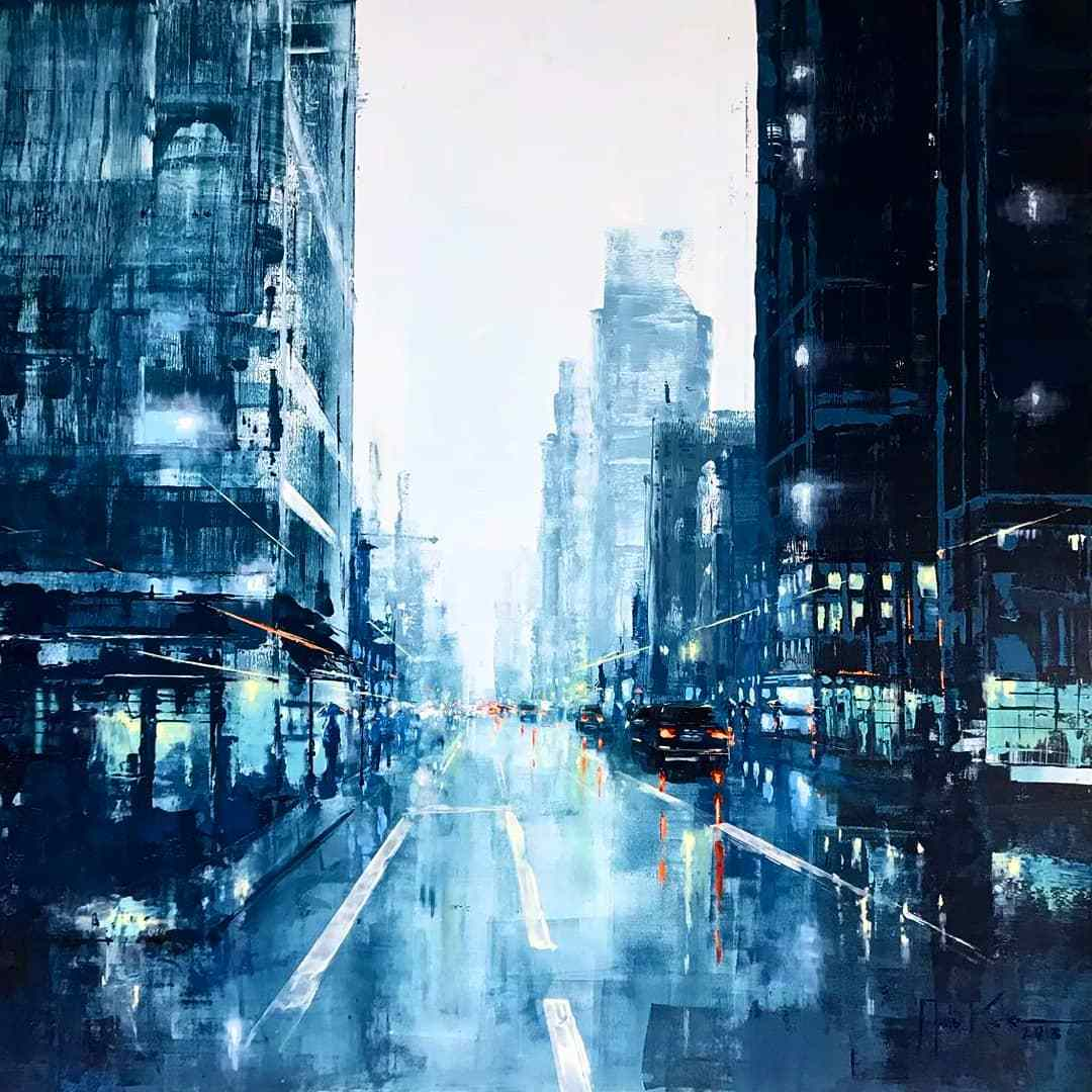 Martin Köster, San Francisco blue noon, Oil on panel, Unikat, 2019, 100 x 100 cm